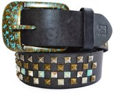 Joe's Jeans Women's Belt Handmade Genuine Leather Pyramid Spikes Studded
