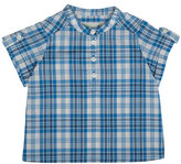 Bonpoint Emilio Short-Sleeve Check Shirt, Blue, Size 6M-2