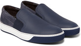 Lanvin Suede and Full-Grain Leather Slip-On Sneakers