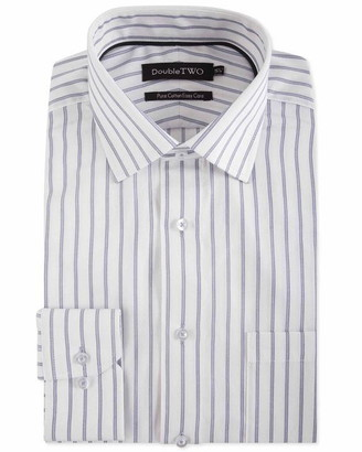 Double Two Grey Striped Pure Cotton Formal Shirt