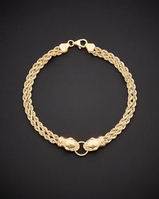Italian Gold 14K Double Panther Head Bracelet