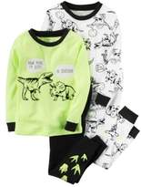 Carter's Baby Clothing Outfit Boys 4-Piece Snug Fit Neon Cotton PJs Dinosaur Tracks, Yellow, 9M