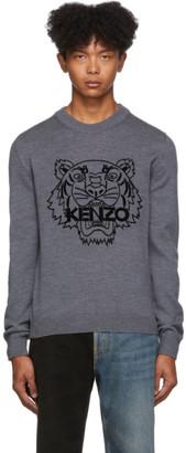 Kenzo Grey Wool Tiger Sweater