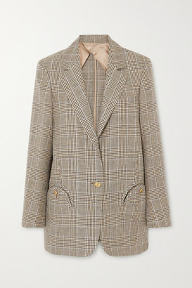 BLAZÉ MILANO Merit Weekend Oversized Prince Of Wales Checked Linen And Wool-blend Blazer - Gray