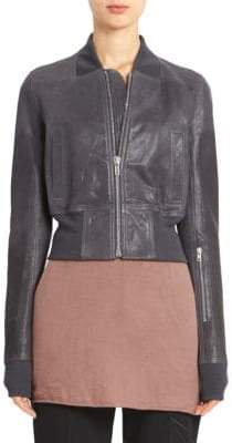 Rick Owens Women's Grainy Leather Ribbed Waist Cropped Bomber - Blue Jay - Size 42 (6)