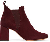 Chloé Scalloped Suede Ankle Boots - Merlot