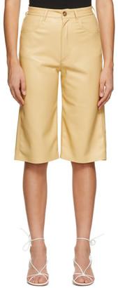 Nanushka Yellow Vegan Leather Nampeyo Shorts