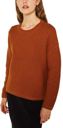 Esprit Womens Long Sleeved Knitted Sweater With Round Neck - Orange