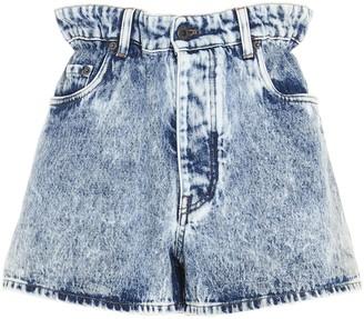 Miu Miu Gathered Waist Denim Shorts