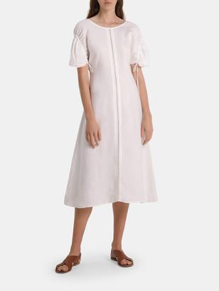 Collectiva Gloria Linen Drawstring Sleeve Midi Dress