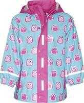 Playshoes Girl's Regenjacke Eulen Raincoat, Turquoise (türkis), 128