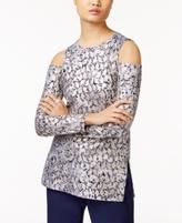 MICHAEL Michael Kors Petite Metallic-Print Cold-Shoulder Tunic, A Macy's Exclusive