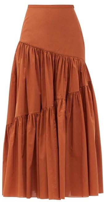 Matteau Asymmetric High-rise Cotton-blend Skirt - Camel