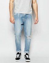 Asos Bow Leg Jeans In Light Blue With Raw Edge Waistband Detail
