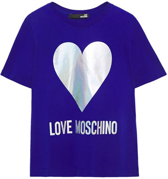 Love Moschino Iridescent Printed Cotton-jersey T-shirt