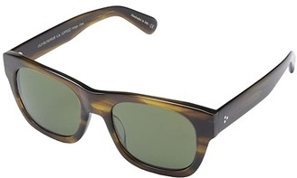 Oliver Peoples 54 Keenan (Black/Midnight Express Polarized) Fashion Sunglasses