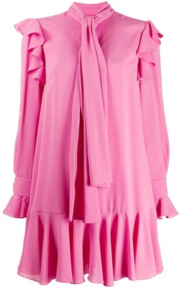 Alexander McQueen Tie-Neck Ruffle Dress