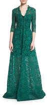 Carolina Herrera 3/4-Sleeve Floral-Lace Gown, Black/Green