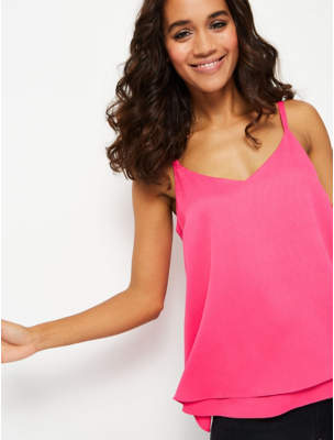 George Neon Pink Textured Double Layer Camisole Top
