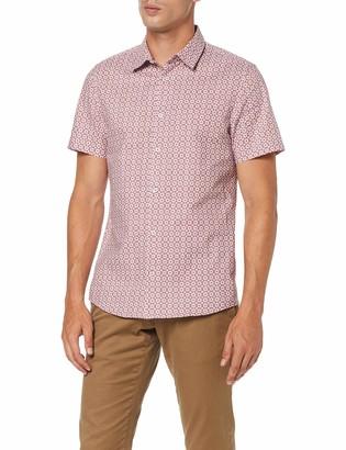 Burton Menswear London Men's Short Sleeve Star Tile Print Shirt Casual