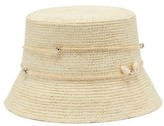 Sensi Studio - Lampshade Shell Toquilla Straw Bucket Hat - Womens - Beige