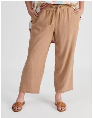 Regatta Rib Waist Wide Leg Cropped Pant-Neutral Cross Dye