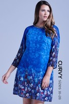 Little Mistress Curvy Curvy Blue Water Paint Floral Shift Dress