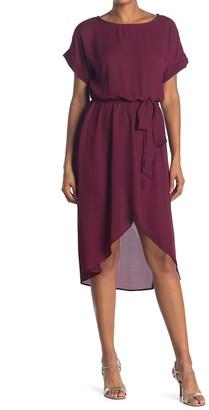 WEST KEI Short Sleeve Tie Waist High/Low Dress