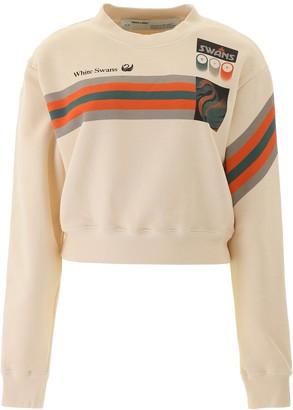 Off-White White Swan Logo Print Crewneck Sweatshirt