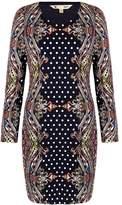 Yumi Paisley & Spot Print Jersey Dress