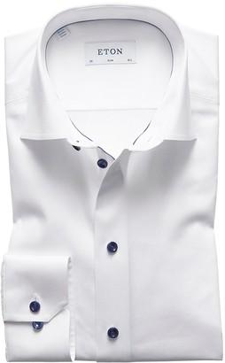 Eton White Twill Shirt With Navy Details - Slim Fit