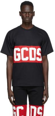GCDS Black and Red Band Logo T-Shirt