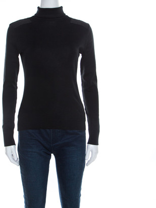 Ralph Lauren Black Cotton Stretch Knit Leather Trim Turtleneck Top S