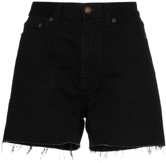 Saint Laurent Fringed Denim Shorts