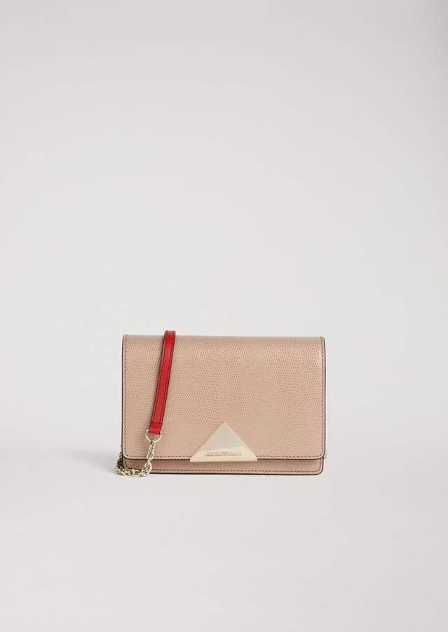 Emporio Armani Cross Body Bag In Lizard Print Leather And Cowhide