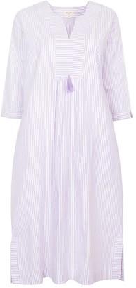 Nologo Chic At Ease Midi Dress - Cotton Stripe - Lavender