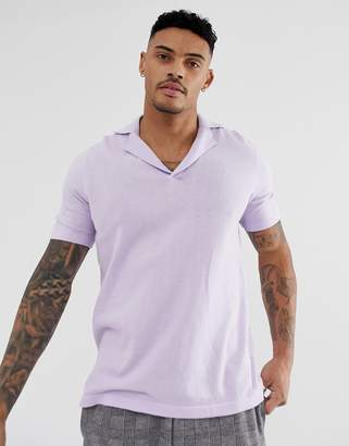 Asos Design DESIGN knitted revere polo t-shirt in lilac-Purple