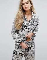 Glamorous Bamboo Print Satin Long Pajama Shirt