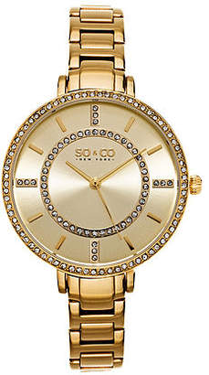So & Co SO & CO Ny Women'S Soho Gold Stainless Steel Thin Bracelet Crystal Filled Bezel Dress Quartz Watch J155P43 Family