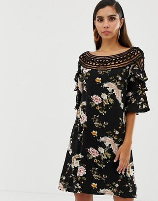 Liquorish floral shift dress with lace cutout detail and fluted sleeves-Multi