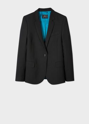 Paul Smith Women's Black Wool-Hopsack Blazer With 'UFO' Print Lining