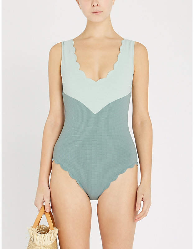 Kamas colour-block panel hopsack weave swimsuit