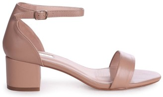 Barely There Linzi HOLLIE - Mocha Nappa Block Heeled Sandal With Closed Back