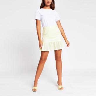 River Island Yellow sequin peplum mini skirt
