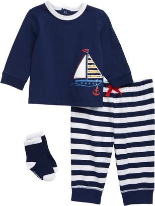 Little Me Sailboat T-Shirt, Pants & Socks Set
