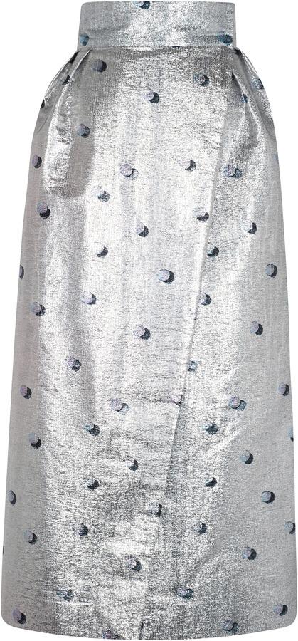 Vika Gazinskaya Metallic Polka-Dot Wrap Skirt