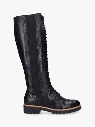 Carvela Select Leather Lace Up High Leg Boots, Black