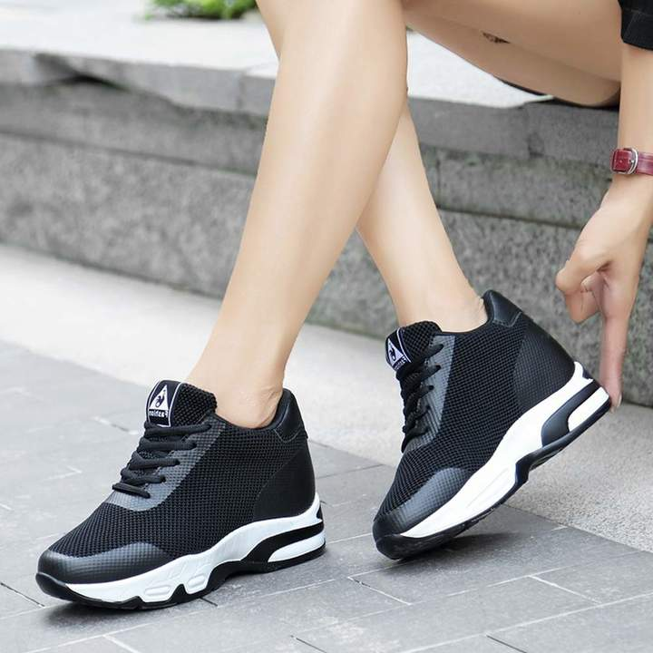 ea7b1685d7427 ASO-SLING Women's Hidden Wedges Sneakers High Heeled Lightweight Mesh Shoes  Casual Walking Tennis Shoes