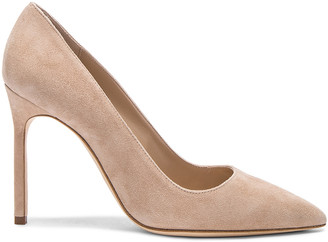 Manolo Blahnik BB 105 Suede Pumps in Nude Suede | FWRD