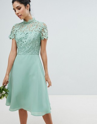 Chi Chi London 2 in 1 High Neck Midi Dress with Crochet Lace-Green